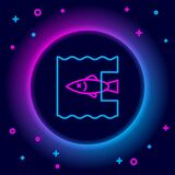Glowing neon line Stop ocean plastic pollution icon isolated on black background. Environment protection concept. Fish
