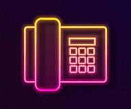 Free Glowing Neon Line Telephone Icon Isolated On Black Background. Landline Phone. Vector Stock Photography - 183393162