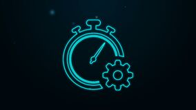 Glowing neon line Time management icon isolated on black background. Clock and gear sign. Productivity symbol. 4K Video