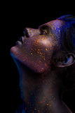 Glowing Neon Makeup With Dramatic Look In His Eyes. Royalty Free Stock Photos
