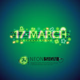 Glowing Neon 17 March Poster. Glowing neon 17 march sign for St Patricks day. Used neon brushes included. There are fastening elements in a symbol palette Stock Image