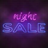 Glowing neon night sale sign illustration stock illustration