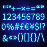 Glowing neon numbers, text symbols and currency signs vector typeset, font Royalty Free Stock Images