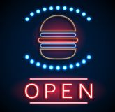 Glowing neon open signs Stock Images