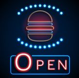 Glowing neon open signs Royalty Free Stock Photos