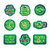 Glowing Neon Patricks Signs Sticker Pack Royalty Free Stock Photography