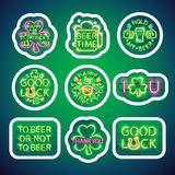 Glowing Neon Patricks Signs Sticker Pack with Stroke. St Patricks Day glowing neon signs sticker pack with white stroke makes it quick and easy to customize your royalty free illustration