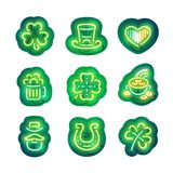 Glowing Neon Patricks Sticker Pack Royalty Free Stock Photography