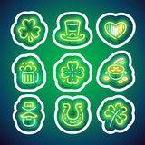 Glowing Neon Patricks Sticker Pack with Stroke vector illustration