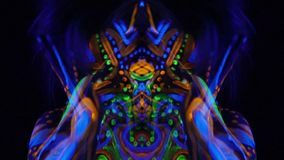Mirror effect, screaming scary woman with colorful glowing patterns on her body and face