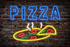 Glowing neon pizza sign Stock Photos