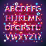 Glowing Neon Red Blue Alphabet. Glowing double neon red blue alphabet makes it quick and easy to customize your USA Independence Day project. Used neon brushes Royalty Free Stock Photos