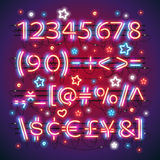 Glowing Neon Red Blue Numbers. And financial symbols makes it quick and easy to customize your USA Independence Day day project. Used neon brushes included Stock Photo