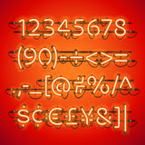 Glowing Neon Red Numbers Stock Photos