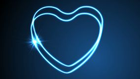 Glowing neon retro hearts video animation. Glowing neon retro blue hearts motion background. Valentines Day graphic design. Video animation Ultra HD 4K 3840x2160 stock video