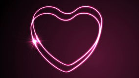 Glowing neon retro hearts video animation. Glowing neon retro hearts motion background. Valentines Day graphic design. Video animation Ultra HD 4K 3840x2160 stock video