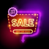 Glowing Neon Sale Sign vector illustration