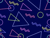 Glowing neon shapes on a black background. Seamless pattern in 80s style. Vector. Illustration stock illustration