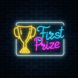 Glowing neon sign with award cup and first prize text in rectangle frame on dark brick wall background. Winner cup honorary trophy neon symbol. Vector Royalty Free Stock Image