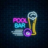 Glowing neon sign of bar with pool including glass of beer and billiard ball. Signboard of pub with billiard table. Vector illustration on dark brick wall Stock Image