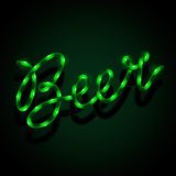 Glowing neon sign - Beer Royalty Free Stock Images