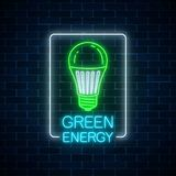 Glowing neon sign of green led light bulb with energy conversation text in rectangle frame. Eco energy concept symbol. Glowing neon sign of green led light bulb Royalty Free Stock Photos
