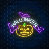 Glowing neon sign of halloween banner design with pumpkin and bats. Bright halloween night scary sign neon style. Glowing neon sign of halloween banner design royalty free illustration