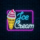 Glowing neon sign of ice cream with cherry on dark brick wall background. Fruit ice-cream in waffle cone. City neon advertising street sign. Vector stock illustration