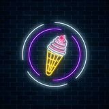 Glowing neon sign of ice cream cone in circle frames on dark brick wall background. Fruit ice-cream in waffle cone. City neon advertising street sign. Vector vector illustration