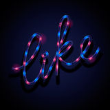Glowing neon sign - Like Royalty Free Stock Photos