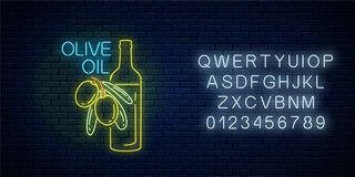 Glowing neon sign of olive oil with alphabet. Natural organic food symbol with green olives and bottle. Glowing neon sign of olive oil with alphabet on dark vector illustration