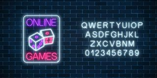 Glowing neon sign of online casino application with dice symbol with alphabet. Casino bright signboard. Glowing neon sign of online casino application with dice royalty free illustration