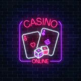 Glowing neon sign of online casino application in rectangle frame on dark brick wall background. stock illustration