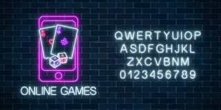 Glowing neon sign of online games application in mobile device screen with playing cards and dice Internet casino banner. Glowing neon sign of online games royalty free illustration