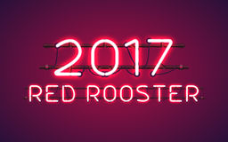 Glowing Neon sign 2017 RED ROOSTER. Glowing Red Neon sign 2017 RED ROOSTER as symbol of 2017 on the Chinese calendar, with wires, tubes, brackets and holders Royalty Free Stock Photos