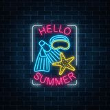 Glowing neon sign of summer begin party with sea star, flippers and mask symbols in rectangle frame Stock Photography