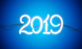 Neon sign new year 2019 royalty free stock image