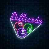 Glowing neon signboard of bar with billiards on brick wall background. Billiard balls in triangle frame. Stock Photo