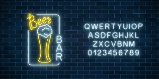Glowing neon signboard of beer bar in rectangle frame and alphabet. Luminous advertising sign of night club. Glowing neon signboard of beer bar in rectangle Stock Images