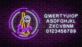 Glowing neon signboard of beer bottle with glass in round frames with alphabet Luminous advertising sign. Glowing neon signboard of beer bottle with glass in Royalty Free Stock Photo