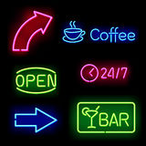 Glowing neon signs. Vector illustration royalty free illustration