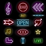 Glowing neon signs, icon set Royalty Free Stock Photos