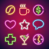 Glowing Neon Signs Set. Used pattern brushes included. There are fastening elements in a symbol palette Stock Photos