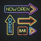 Glowing Neon Signs. Vector Stock Image