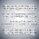 Glowing Neon Silver Numbers vector illustration