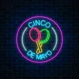 Glowing neon sinco de mayo holiday sign in circle frames on dark brick wall background. Mexican festival flyer design. Vector illustration Stock Photos