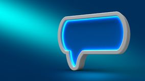 Glowing neon speech bubble on blue background, 3d illustration. Set for design presentations.  Stock Photography