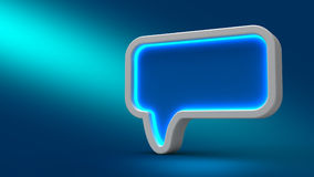 Glowing neon speech bubble on blue background,. 3d illustration. Set for design presentations Stock Image