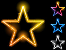 Glowing Neon Stars Royalty Free Stock Photos