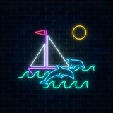 Glowing neon summer sign with sailing ship and dolphins in ocean in round frames on dark brick wall background. Shiny summertime symbol. Vector illustration Stock Photos